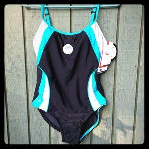 Speedo 1 pc swimsuit Black/Turquoise/White NWT